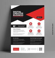 Vector Red and Black Flyer Layout Template in A4 Size.
