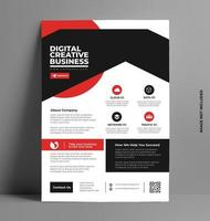 Red and Black Flyer Layout Template in A4 Size. vector