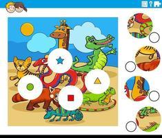 Combina la tarea de piezas con personajes de animales de dibujos animados vector