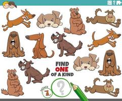 juego único para niños con perros de dibujos animados vector
