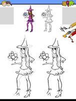 Tarea de dibujo y coloración con personaje de niña bruja vector