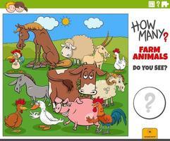 how many farm animals educational cartoon task for children vector