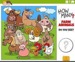 cuántos animales de granja juego educativo de dibujos animados para niños vector