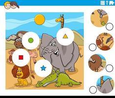 Combina la tarea de piezas con personajes de animales cómicos vector