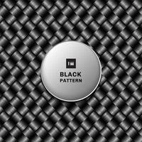 Patrón de tejido metálico negro 3d abstracto sobre fondo oscuro y textura vector