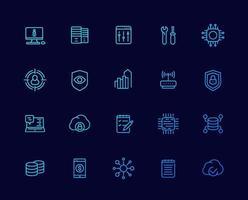 La comunicación, la tecnología y los iconos, vector lineal set.eps