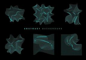 Set of blue glowing wavy particles. Modern wireframe background and texture. vector