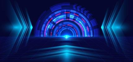 Abstract technology blue circle, light beam and arrow pattern. Perspective on dark blue grid background Hi-tech communication concept.