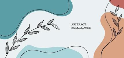 Banner web design template background with colored organic shapes, line art leaves. vector