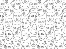Seamless pattern with female portraits. One line drawing. vector