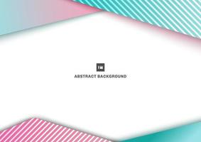 Abstract template. Geometric blue and pink gradient color triangles overlapping line pattern on white background vector