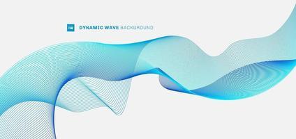 Líneas de onda azul de flujo de curva dinámica abstracta sobre fondo blanco