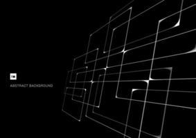 patrón abstracto blanco intersección de líneas geométricas perspectiva superpuesta sobre fondo negro vector
