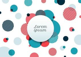 Abstract blue and red circles random pattern on white background. Modern geometric with label. vector