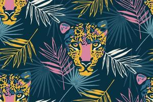 Tropical seamless pattern with palm leaves and leopard. vector