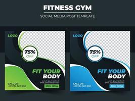 Fitness gym set social media post template design vector