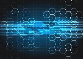 Concepto digital de tecnología abstracta, elementos geométricos azules brillantes sobre fondo oscuro.