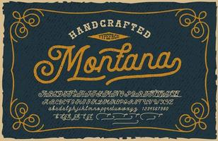 A vintage Script Font. This font looks better for large headlines and short words. Perfect for many creative products such as emblems, headlines, packaging, alcohol labels, and many other uses. vector
