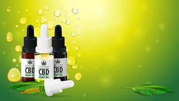 Blank template with copy space, CBD oil bottles with pipette and marijuana leafs on blurred green background with Cannabis oil gold bubbles.