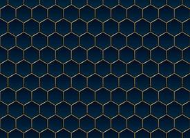 Fondo y textura abstractos del modelo del hexágono azul y dorado vector