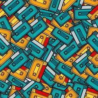 Cassette Pop Art Seamless Pattern vector