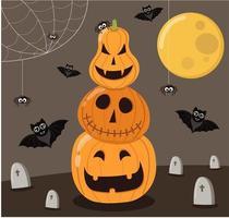 Tarjeta de felicitación de fiesta de halloween feliz con lindo murciélago vampiro y calabaza. vector