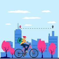 repartidor que entrega al destino utilizando una ilustración de diseño de bicicleta plana vector