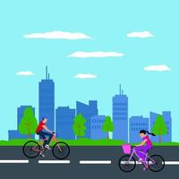 Men and women cycling casually on holiday in the middle of the city flat illustration vector