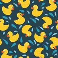 pato de goma, juguete, seamless, patrón vector