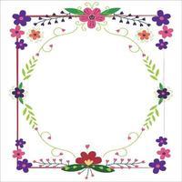 Square floral vector frame
