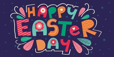 Happy Easter Day hand-drawn lettering vector