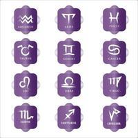 conjunto de iconos del zodíaco. signo de estrella para el horóscopo astrológico. color del botón morado y signo del zodíaco blanco