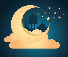 Eid al adha mubarak celebration with moon and clouds vector