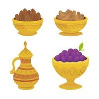 eid al adha celebration icon set vector