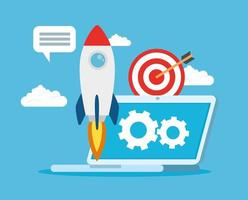 Business startup concept banner with rocket launching