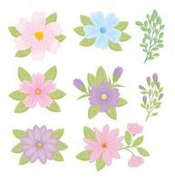 conjunto de flores de color pastel