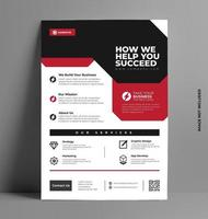 Red Shape Business Flyer Template. vector