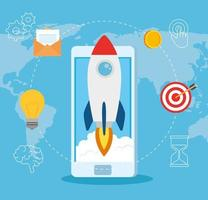 Startup business concept banner with rocket launching