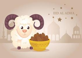 Eid al adha mubarak celebration with sheep and a bowl of dates vector