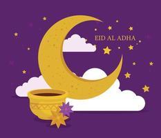 Eid al adha mubarak celebration with moon and ceramic pot vector