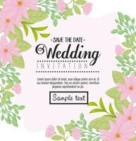 Floral greeting card with flowers for wedding invitation vector