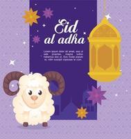 Eid al adha mubarak celebration with sheep and lanterns hanging vector