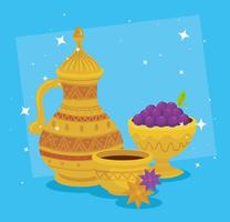 eid al adha celebration card with golden jar and grapes vector