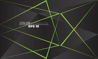 Polygonal shapes background  low poly triangles mosaic black and green neon vector