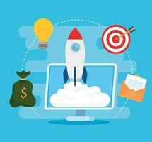 Startup business concept banner with rocket launching vector