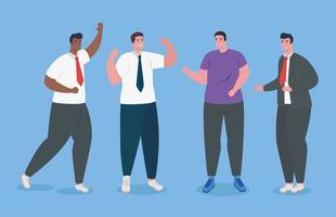 Interracial business men standing avatar character vector