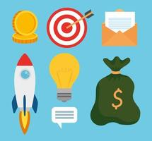 set of business startup concept icons vector