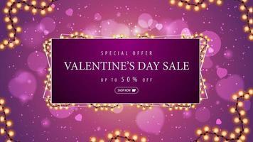 Valentine's day sale, pink discount horizontal web banner with garland frame around offer. vector