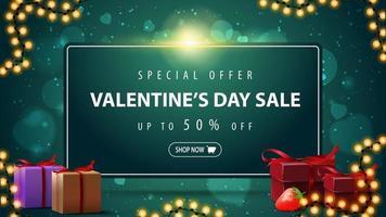 Oferta especial, venta del día de San Valentín, hasta 50 de descuento, banner web horizontal de descuento verde con marco de guirnaldas y regalos. vector