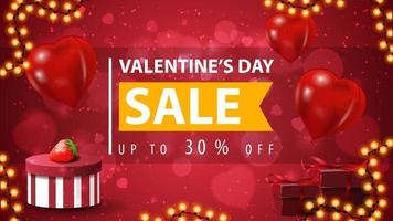 Valentine's day sale, up to 30 off, red discount banner with large offer with ribbon, garland frame, presents and heart shape balloons vector